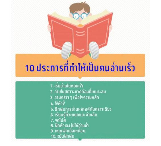 เคล็ดลับ 10 ประการที่ทำให้เป็นคนอ่านเร็ว