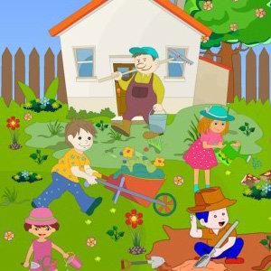 เกมส์จับผิดภาพเด็กๆทำสวน