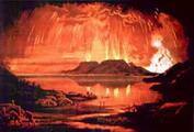 ภาพวาดการเกิดระเบิดของภูเขาไฟ