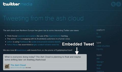 Twitter ให้บริการฝัง Tweet ในหน้าเว็บ