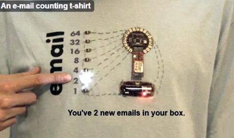 เสื้อยืดแสดงจำนวนอีเมล์ใหม่ที่ค้างอ่าน