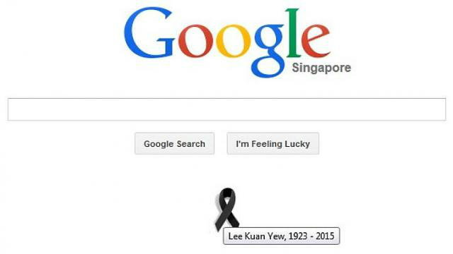 Google ร่วมไว้อาลัย ลี กวน ยู ติดริบบิ้นดำที่หน้าโฮมเพจ