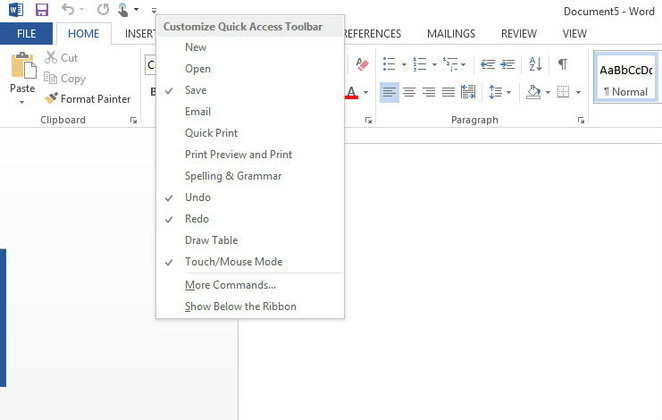 ปรับแต่ง เพิ่มเมนูบน Microsoft Word 2013 ให้เรียกใช้งานได้เร็วขึ้น