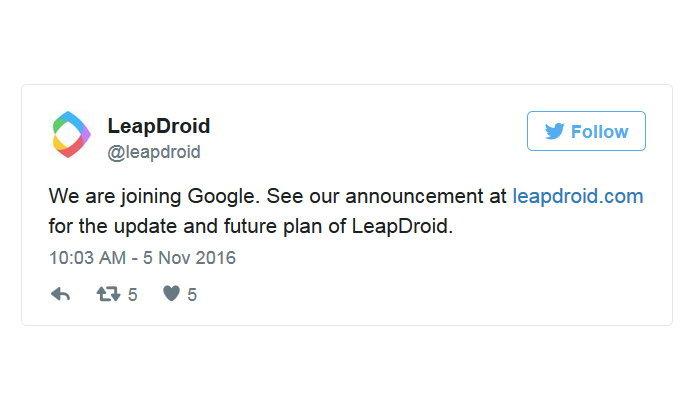 กูเกิลดึงตัวนักพัฒนา LeapDroid อีมูเลเตอร์ Android เข้าเป็นพนักงาน