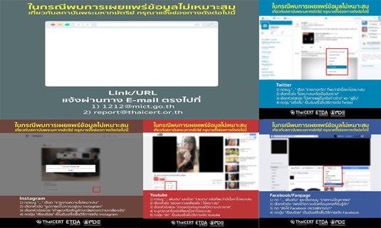 วิธีรายงานเว็บไซต์หมิ่นสถาบัน เว็บไซต์ไม่เหมาะสม ในโซเชียลมีเดีย