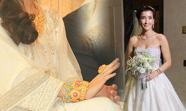 สวย เลอค่า! ชุดแต่งงาน แองจี้ เฮสติ้ง เจ้าของฉายาเจ้าสาวห่มทอง