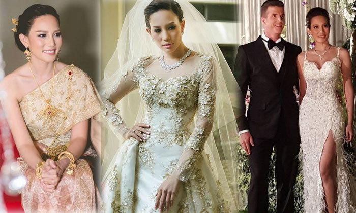 """สวยทุกชุด! ซูมชุดแต่งงาน อดีตนางงาม """"ชาม ไอยวริญท์"""""""
