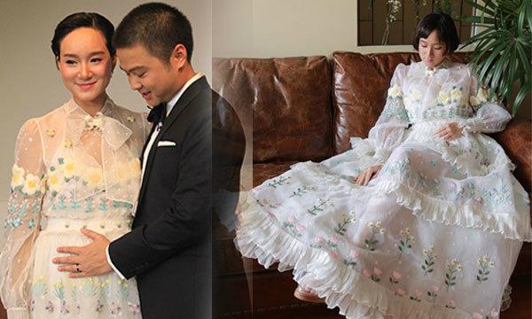ซูมชุดเจ้าสาวปักมือ เพชร นาระ แต่งแล้ว รับท้อง 4 เดือน